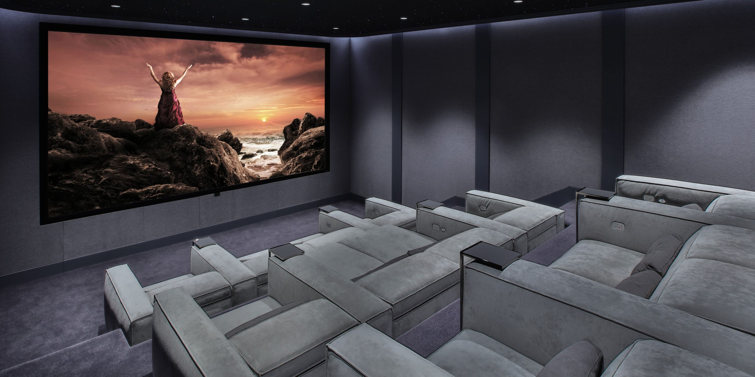 Modern home theater with gramercy Cineak home theater seating