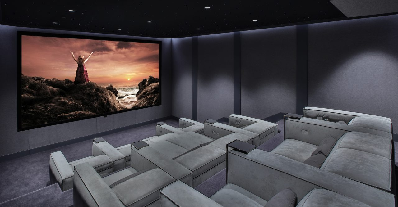 Modern home theater with gramercy Cineak home theater seating large screen
