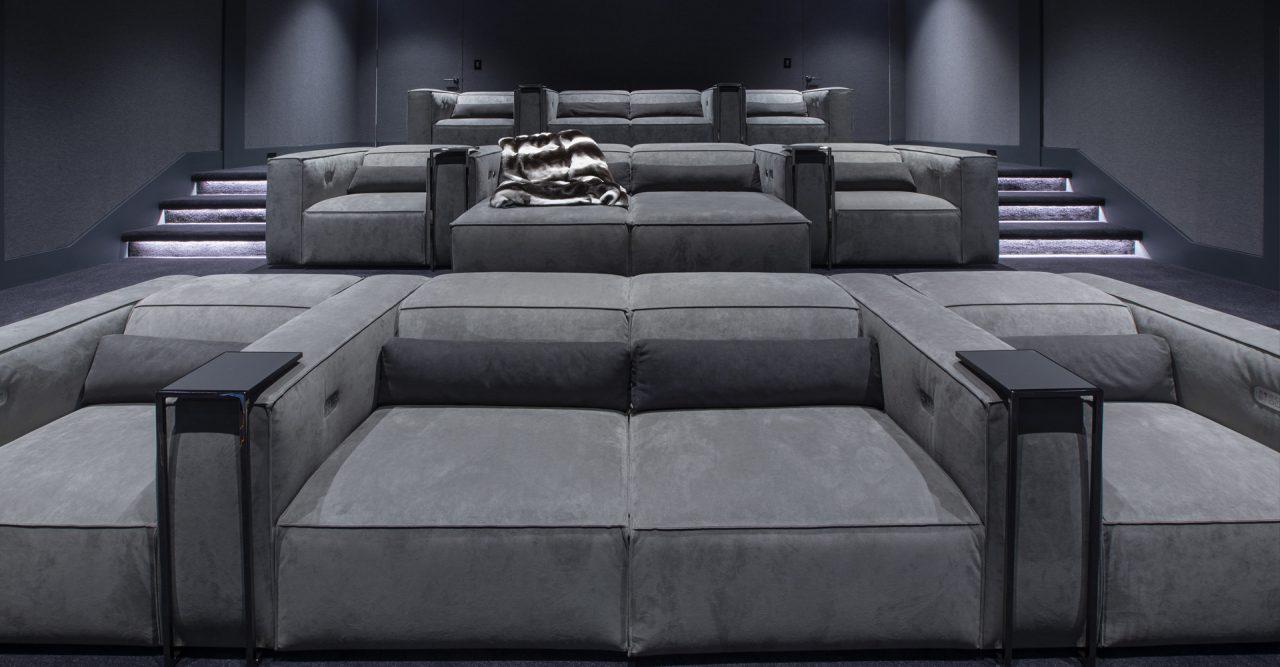 Luxury grey modern theater with Cineak home cinema seating