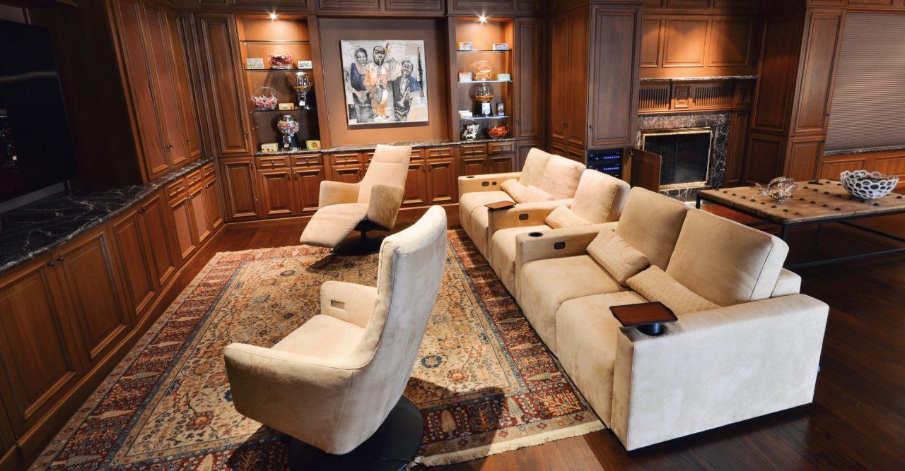 Classic Media room with luxury cineak seating Largo and Locado armchair