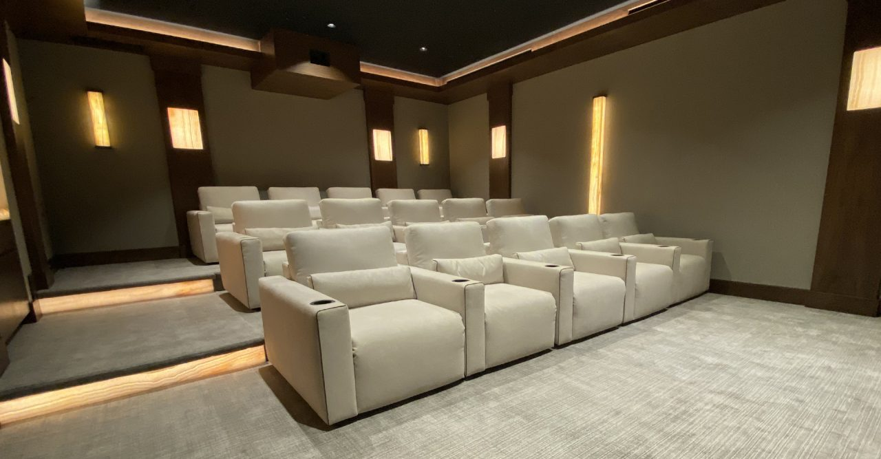Largo Theater seating Alcantara contemporary home theater witch onyx up close