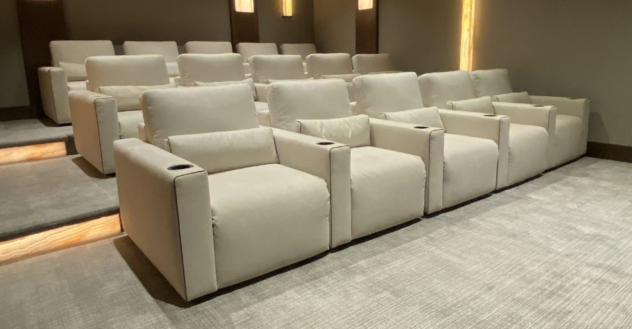 Largo Theater seating Alcantara contemporary home theater witch onyx